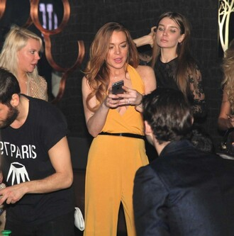 dress orange dress orange lindsay lohan