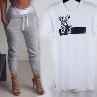 t-shirt kitten 14 sexy white white t-shirt rolled sleeves crew neck sweatpants london casual loose tshirt loose fit pink summer outfits fashion kitten t shirt pants grey shoes underwear impression14.com