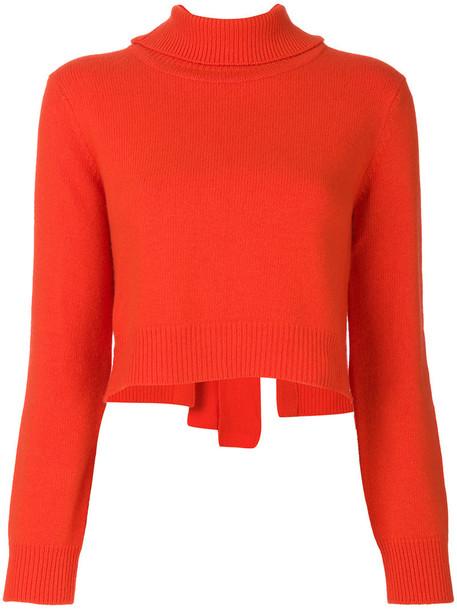 jumper back women wool red sweater