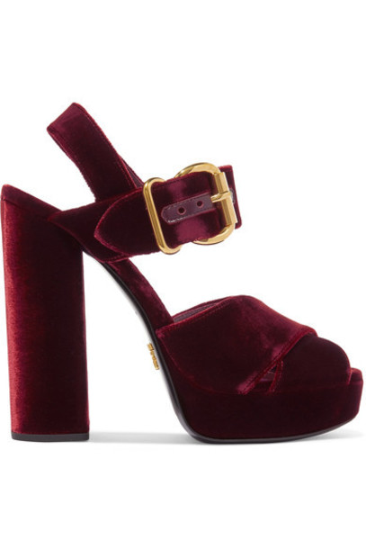 Prada sandals platform sandals velvet burgundy shoes