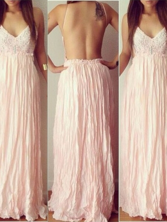 A-line Backless Chiffon Long Prom Dresses,formal dresses [B0048] - $162.00 : 24inshop