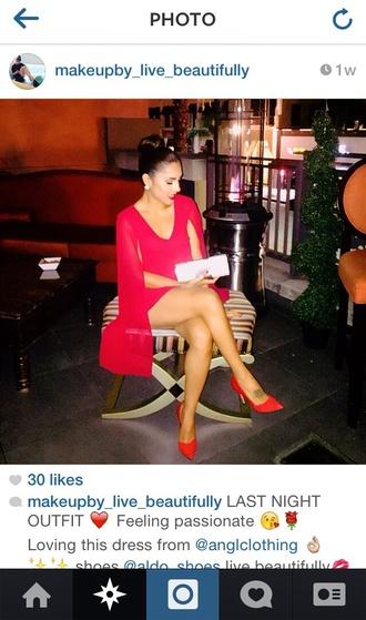 dress red dress chic sexy cape chiffon glamorous dress glam sexy dress