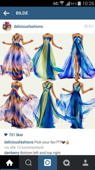 dress colours colourful green blue pink purple orange details colourful dress dresses for prom long dress