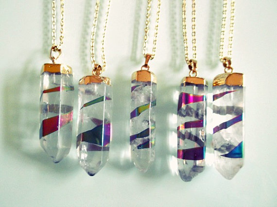Crystal Quartz binded w/ Titanium Point Wand Necklace - Gold Dipped