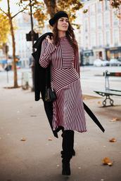 dress,tumblr,midi dress,asymmetrical,asymmetrical dress,pink dress,stripes,striped dress,long sleeves,long sleeve dress,beret,french girl style,boots,black boots