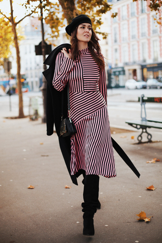 dress tumblr midi dress asymmetrical asymmetrical dress pink dress stripes striped dress long sleeves long sleeve dress beret french girl style boots black boots