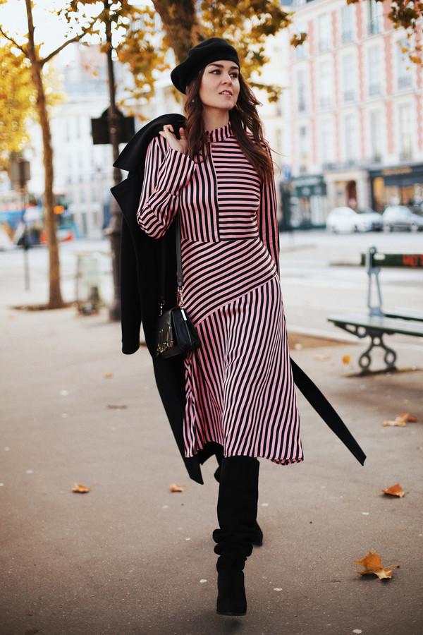 dress tumblr midi dress asymmetrical asymmetrical dress pink dress stripes striped dress long sleeves long sleeve dress beret french girl style boots black boots