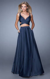dress,prom dress,long prom dress,two-piece,blue dress,blue crop top,blue crop top and skirt,blue skirt,two piece prom dresses,criss cross back,navy dress,long skirt