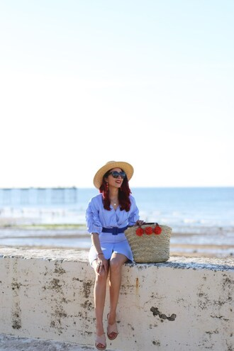 preppy fashionist blogger dress hat sunglasses jewels bag shoes straw hat basket bag summer outfits