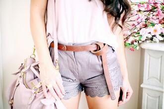 shorts grey shorts leather shorts the cherry blossom girl