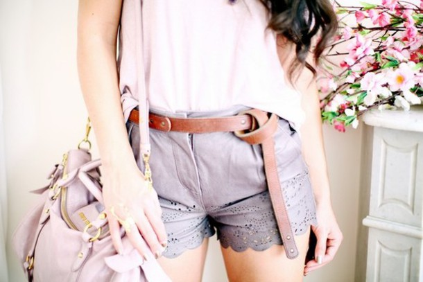 grey shorts leather shorts the cherry blossom girl shorts