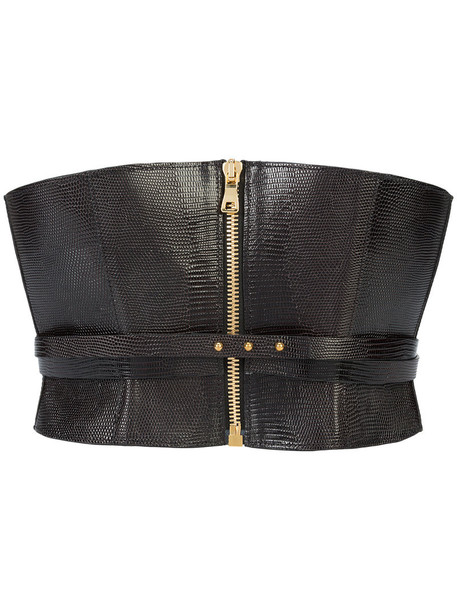Balmain style women belt leather black