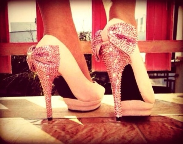 shoes baby pink high heels pink sequins bows dress