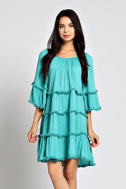 Teal Casual Dress Dress Blue Teal Green Boho