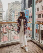 coat,wool coat,checkered,jeans,white jeans,white sneakers,white blouse,sunglasses