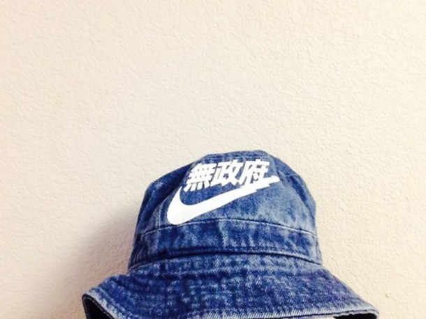 cc12029efc8 hat guys bucket hat nike tumblr clothes kyc vintage vintage denim blue bucket  hat nike bucket