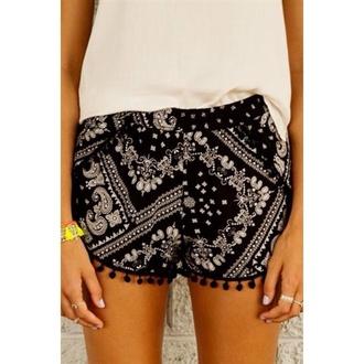 shorts bandana pom pom shorts pom poms bandana shorts black black shorts