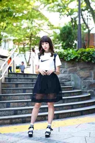 skirt black kawaii kawaii dark kawaii grunge white nike t-shirt shirt fashion soft grunge platform shoes