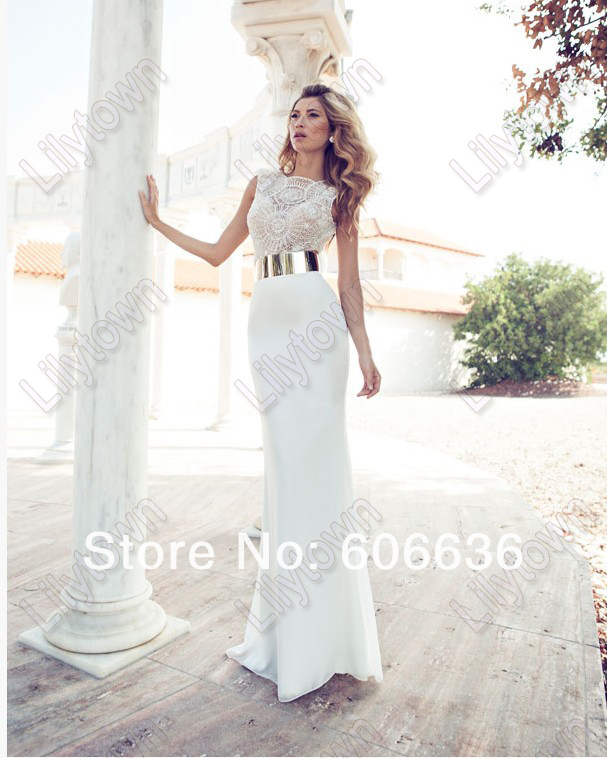 Wholesale New 2014 Embroidery Beaded Gold Metal Belt Chiffon Julie Wedding Dresses Designer Special Occasion Dress Multi Color-in Wedding Dresses from Apparel & Accessories on Aliexpress.com