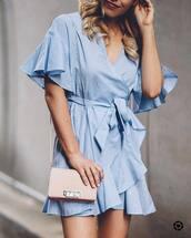 dress,tumblr,mini dress,blue dress,wrap dress,bag,pink bag