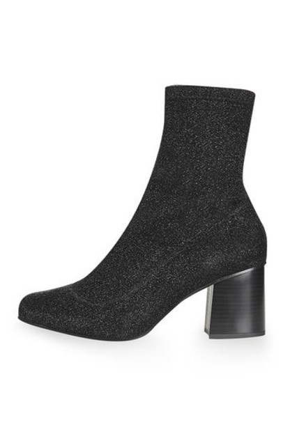 Topshop sock boots glitter black shoes