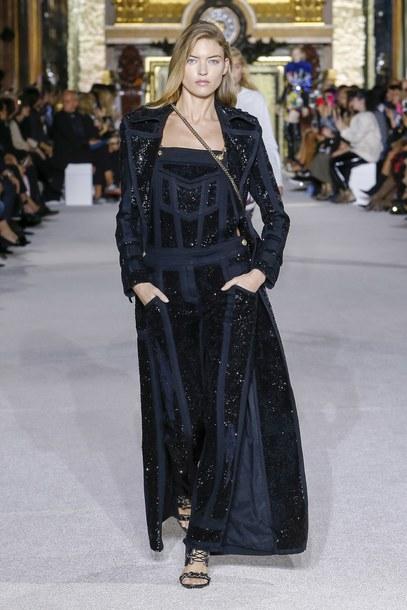 Jumpsuit Long Coat Coat Martha Hunt Model Balmain Paris