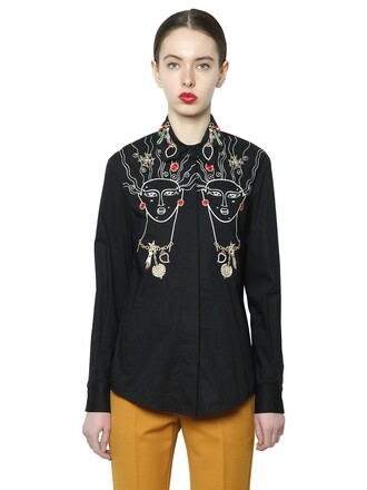 shirt embroidered cotton black top