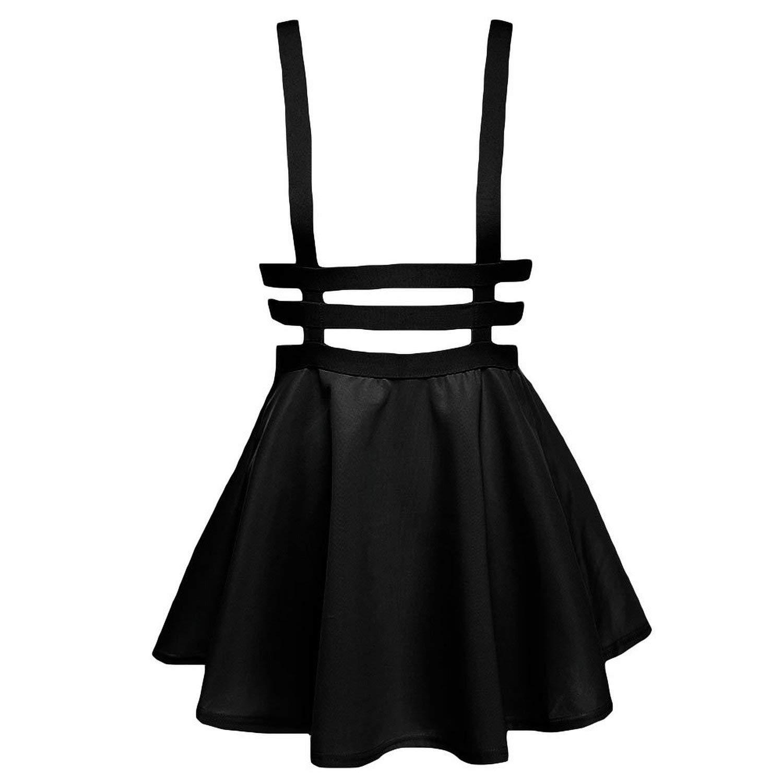 Yonala Women's Pleated Short Braces Suspender Skirt Black One Size at Amazon Women's Clothing store: