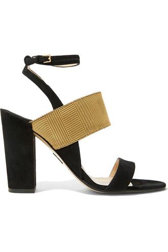 metallic jacquard sandals suede black shoes