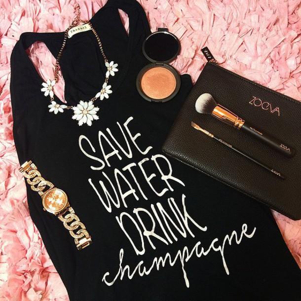 tank top makeup bag gold watch watch flowers ootd