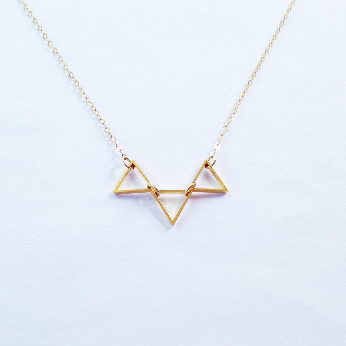 Trinity - Minimalist Trio Necklace, Minimalist Necklace, Gold Triangle, Simple Necklace