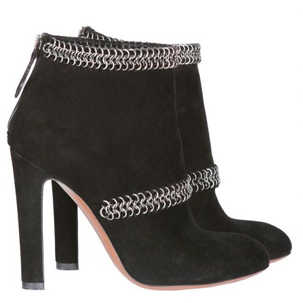 Azzedine alaia black suede chain boots