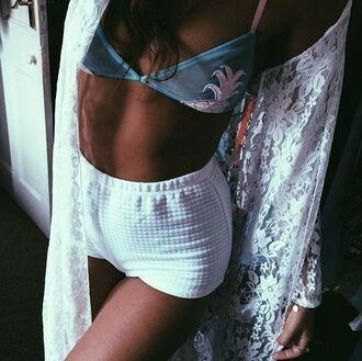 top pineapple bra white shorts high waisted shorts see through lingerie see through bra bra lace cardigan white cardigan pineapple print pineapple bikini