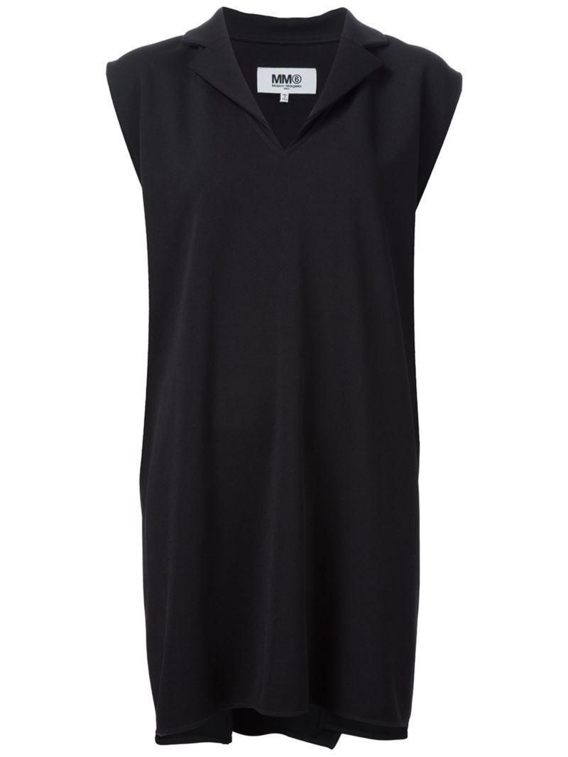 Mm6 Maison Margiela lapel short dress, Women's, Size: XS, Black, Polyester/Spandex/Elastane