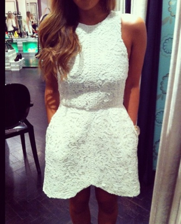 dress white mini dress mini dress lace dress edgy white dress ivory dress dress short dress white lace dress lace dress beautiful fab glamour glamour girly girly pretty like fashion fashion taost romper sleeveless short cute celebrity clothes romantic lace top dress crochet summer prom dress graduation dress cocktail dress