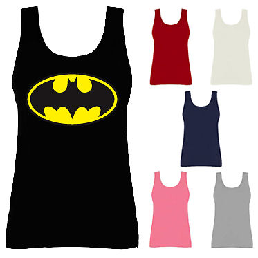 Womens Batman Logo Comic Super Hero Vest Tank Top NEW UK 10-18 | eBay