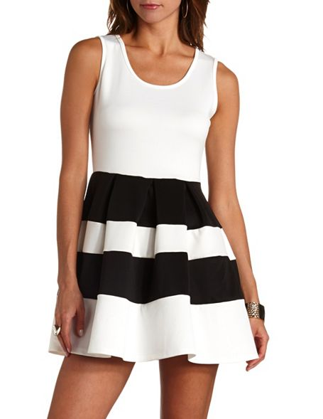 91ca8e9b7ec Back Cut-Out Color Block Skater Dress  Charlotte Russe