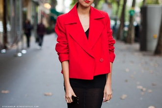jacket red jacket denni chic muse