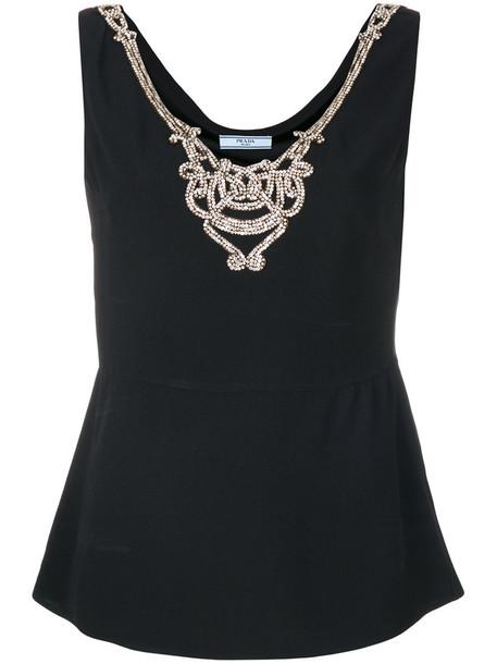 Prada blouse metal women embellished black top