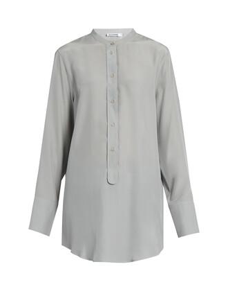 shirt silk light grey top