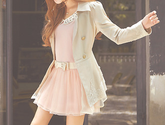 dress kfashion korean fashion cute pink belt coat white collared pink dress pastel pastel teen pastel girl tumblr fashion ulzzang cream jacket tan jacket lace tan jacket lace jacket lace collared dress pastel grunge studded collar dress dress bow cute love