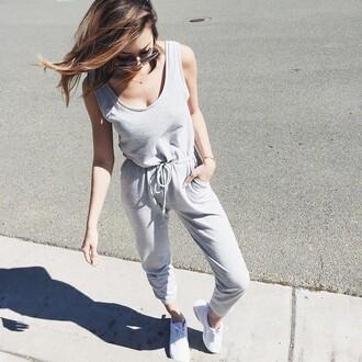 jumpsuit tumblr grey jumpsuit sporty sneakers white sneakers low top sneakers