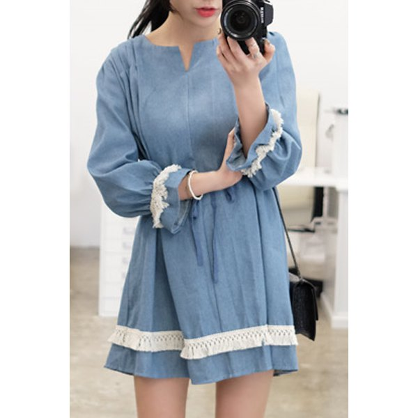 Casual 3/4 Sleeve Fringed Lace Spliced Dress For Women