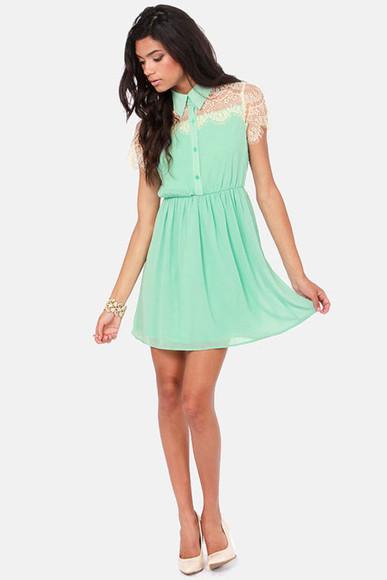 mint green mint dress green dress collar collar dress