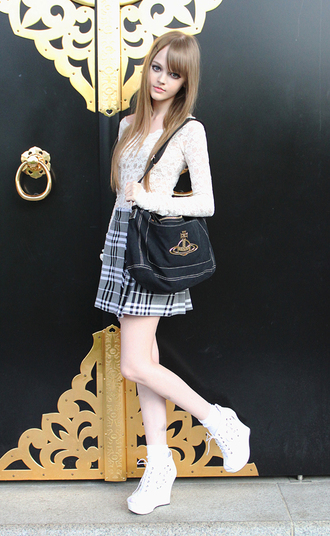 shoes high heels wedges white white laces laced shoes dakotakoti dakota rose dakota ostrenga school girl school uniform skirt sweater