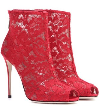 open boots ankle boots lace red shoes