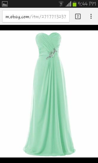 dress mint dress maid of honor strapless dress