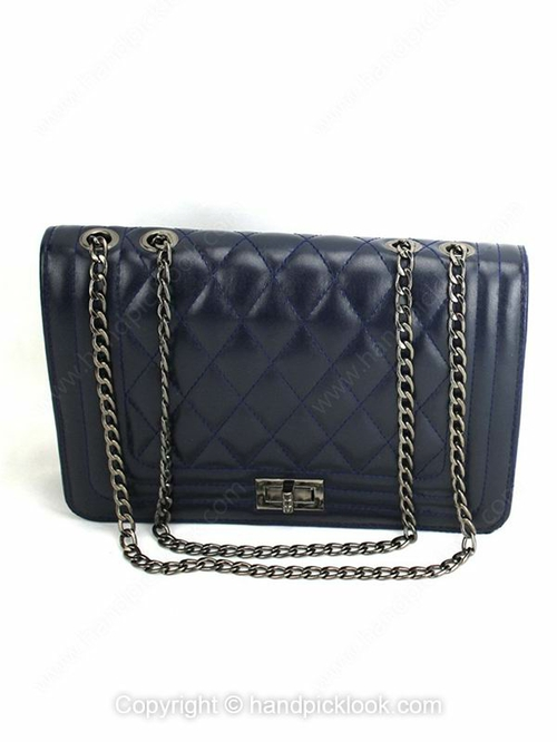 Black Twist Lock Chain Diamond Pattern Shoulder Bag - HandpickLook.com