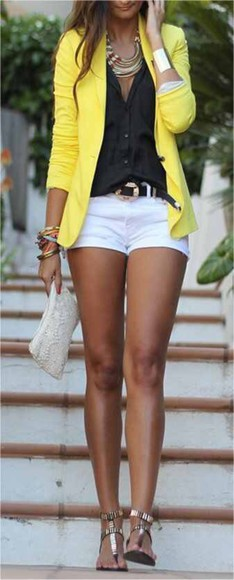jewels black necklace top outfits shoes jacket yellow yellow jacket blazer summer outfits fall outfits night out clothes fashipn fashion gold white white shorts