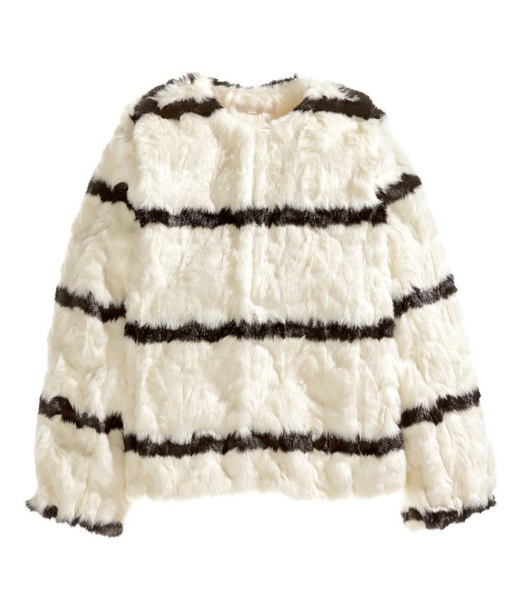 jacket white faux fur jacket with black stripes